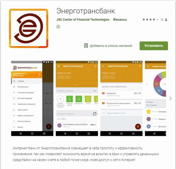 Мобильное приложение Энерготрансбанка