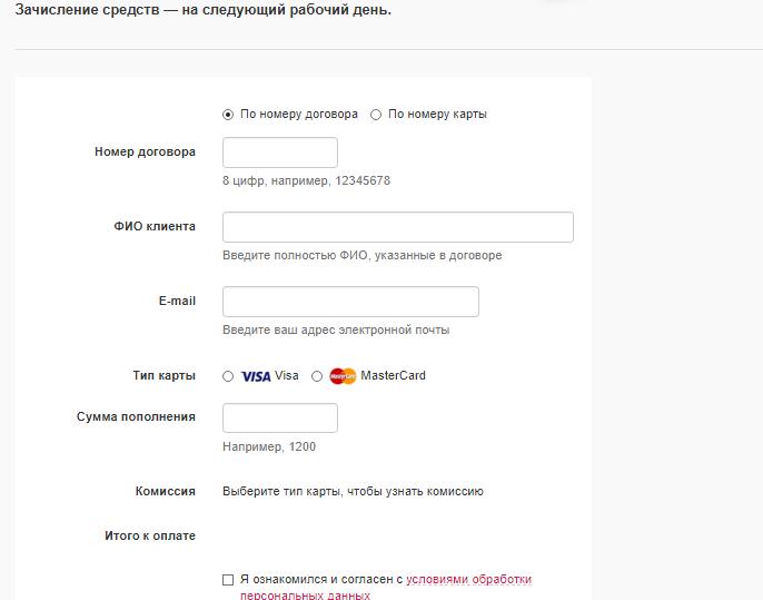 Зачисление средств за кредит на сайте Почта Банк