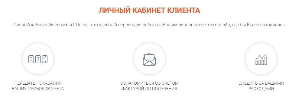 Функции личного кабинета Энергосбыт Плюс