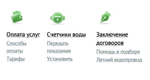 Возможности кабинета Омскводоканала