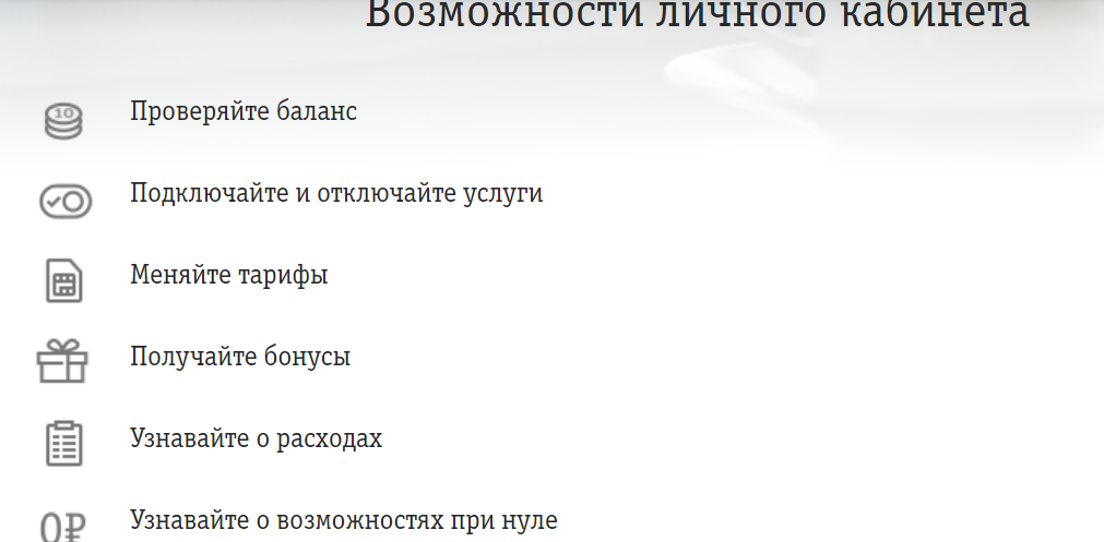 Функции личного кабинета Билайн