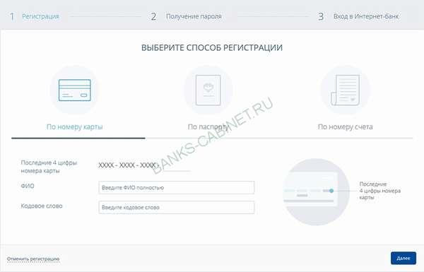 Регистрация личного кабинета Восточного банка