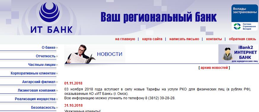 Главная страница официального сайта Банка ИТ