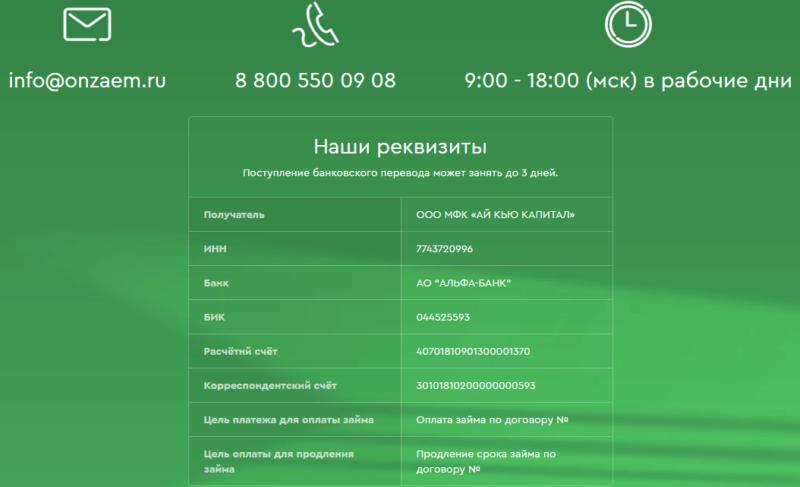 Контакты МФО
