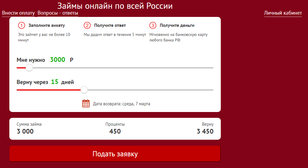 Займ от Микролад онлайн
